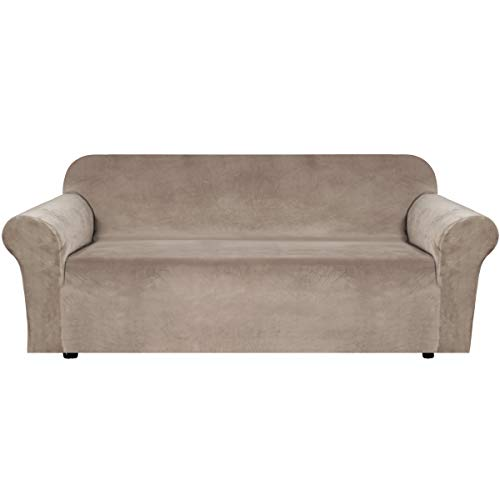 H.VERSAILTEX Stretch Velvet Sofa Covers Large Couch Covers Sofa Slipcovers with Non Slip Straps Underneath The Furniture, Feature Thick Comfy Rich Velour (Extra Wide Sofa 96'-116', Taupe)