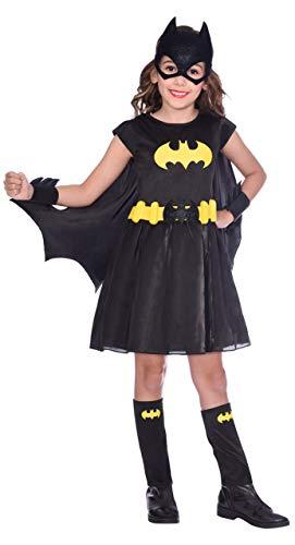 Fancy Me Klassisches schwarzes Fledermausmädchen-Kostüm für Mädchen mit Batgirl Comicbuch Weltbuch-Tag Karneval Halloween Kostüm Outfit 3-12 Jahre