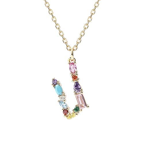 ShSnnwrl Colgante Collar con Colgante de Iniciales Europeas de Plata de Ley 925, pavé de Mujer, Cristal Colorido, joyería de fies