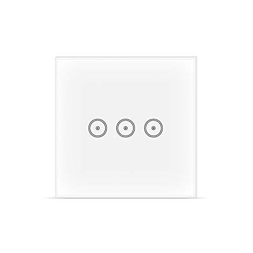 Interruttore WIFI intelligente, Smart Light Switch compatibile con Alexa Google Home e IFTTT, Interruttore smart touchscreen, funzione di temporizzazione, 2.4 GHz, nessun hub richiesto 3 Gang
