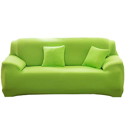 KAISUN Funda Sofa Elastica,Sofá Antideslizante Protector,Spandex Home Funda Sofá Antiarañazos,con Dos Fundas de Almohada del Mismo Color (Verde,1 plazas (90-140cm))