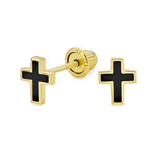 Minúsculo religioso minimalista cristiano 3D mini cruz stud pendientes para las mujeres adolescente negro chapado real 14K oro amarillo Saftey screwback