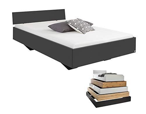 lifestyle4living Futonbett 120x200, Grau-Anthrazit mit Kopfteil | Flaches Einzelbett für bodennahen Schlaf-Komfort