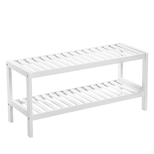 SONGMICS Natural Bamboo 2-Tier Shoe Rack, Shelf for Shoes Plants Books, for Living Room Hallway Bedroom Bathroom, 70 x 26 x 33 cm, White LBS02WT