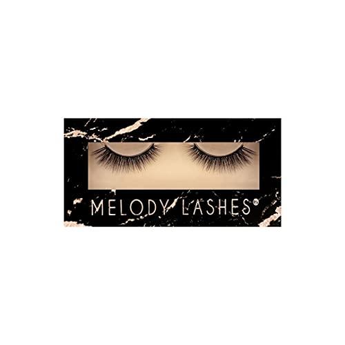 Melody Lashes synthetische, Ultra fluffig mit Wispy Cat Eye, natürliche 3D Wimpern, erstaunlicher Look und Curled künstliche Wimpern bis zu 15x wiederverwendbar, 100% vegan (Elin).