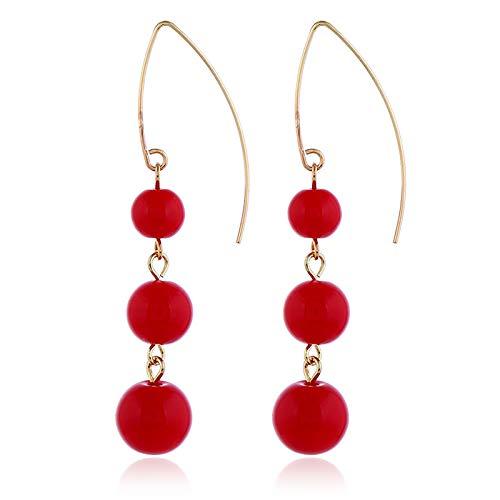 Pendientes de perlas artificiales con personalidad simple y accesorios de moda de gran tamaño para mujer Han Baitao Chaozhou, talla única,