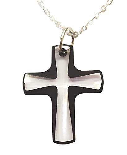 Sicuore Collar Cruz de Cristal Swarovski - Plata de Ley 925 Incluye Cadena 45cm Y Estuche para Regalo