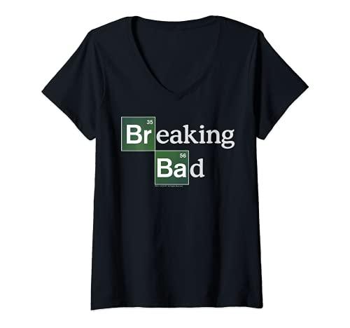 Donna Breaking Bad Periodic Square Logo Maglietta con Collo a V