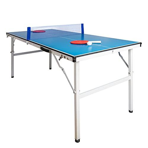 YP Mesa de Ping Pong Plegable para Interior y Exterior Tamaño 150 X 66 X 69 CM Mesa de Ping Pong Mini para los Niños Color Azul