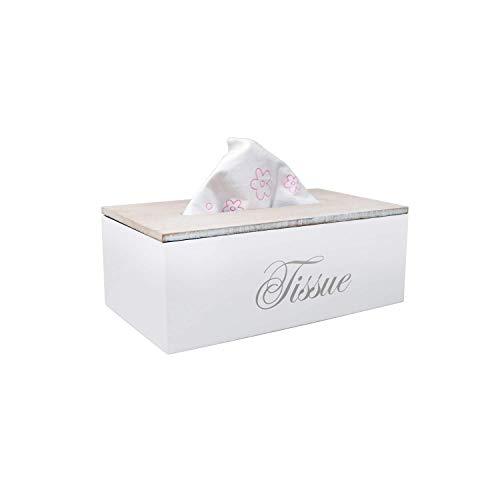 DRULINE Taschentuchbox Kosmetiktücherbox Taschentuchspender Tissuebox Holz Natur (Weiß)