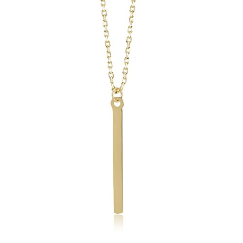 Gelin 14k Real Gold Simple Vertical Bar Chain Necklace for Women, A Perfect Birthday Gifts for Girlfriend, Wife, New Moms, 18 inch