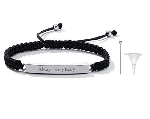 PJ JEWELLERY Personalisierte Edelstahl Feuerbestattung Urne Armband ID Bar Geflochtenes Armband für Asche Halter Andenken Medaillon für Frauen Männer