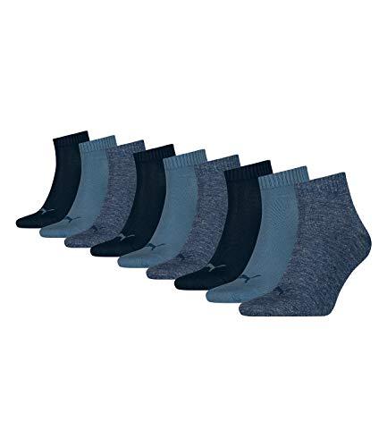 Puma unisex Quarter Sportsocken Kurzsocken Socken 271080001 9 Paar, Farbe:Blau, Menge:9 Paar (3x 3er Pack), Größe:35-38, Artikel:271080001-460 denim blue