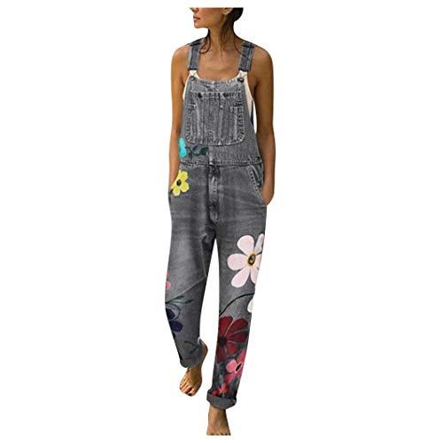 Huacat Blumen Drucken Jeans Jeanslatzhose Damen Latzhose Jeans Hose Vintage Loose fit Jumpsuit Overall Blumen Denim Playsuit Romper