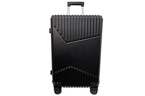 Valigia Trolley ABS Rigido Ultraleggero Tg M 58x42x27cm Nero 4 Ruote Girevoli