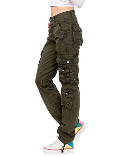 Onsoyours Donna Moda Pantaloni Casual Cargo Pantaloni Multi Tasche Tinta Unita Jogging Slim Fit Militare Trouser Verde Militare Small