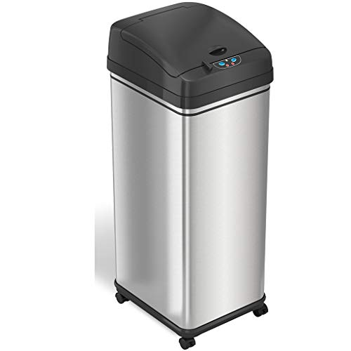 Lowest Prices! ITouchless Touchless Glide 13 Gal Pet-Proof Sensor Trash Can Odor Control System, Sta...