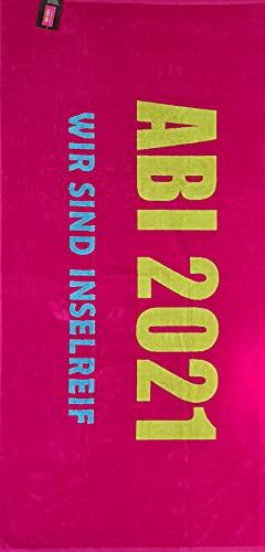 jilda-tex Abistrandtuch 90x180 cm Abihandtuch Strandtuch Strandtuch Abi 2021 Abitur (Wir sind inselreif pink)