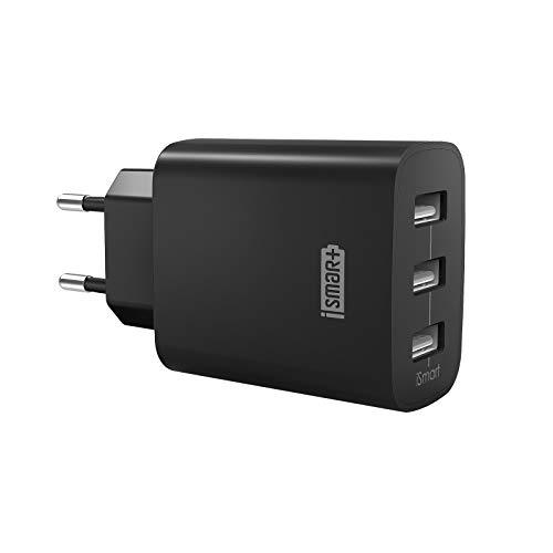 RAVPower Cargador Móvil con 3 Puertos USB (30W 5V/6A) Máxima de 2,4A Cada Puerto Compatible con iPhone 11 Pro MAX XS MAX XR X 8 Plus iPad Pro Air Mini Samsung LG Huaiwei Xiaomi Negro