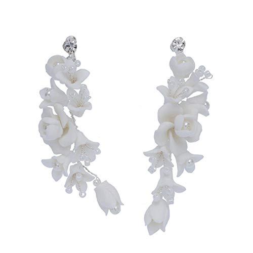Charmanter Brautschmuck mit weißem Porzellan-Blume, handgefertigt, für Hochzeit, Abschlussball, Haarschmuck