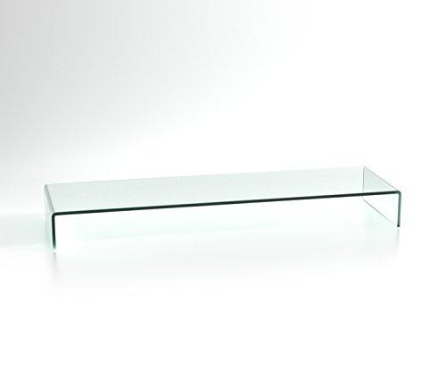 DURATABLE® Notebook tafel in helder glas 1000 mm x 300 mm x 130 mm LCD TV tafel TV opzetstuk monitor tafel verhoging glas