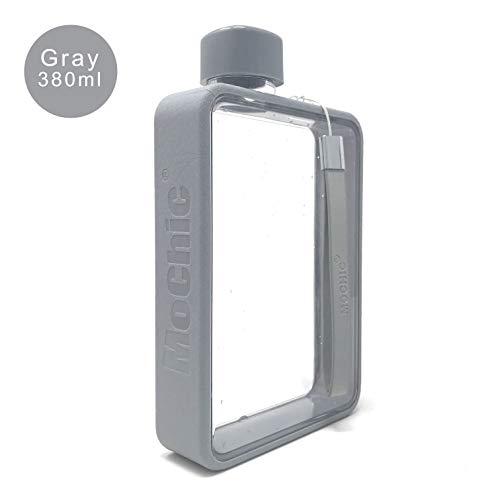Mochic A5 Wasserflasche flach tragbar Reise Becher Handtasche Slim Cold 380 ml, grau