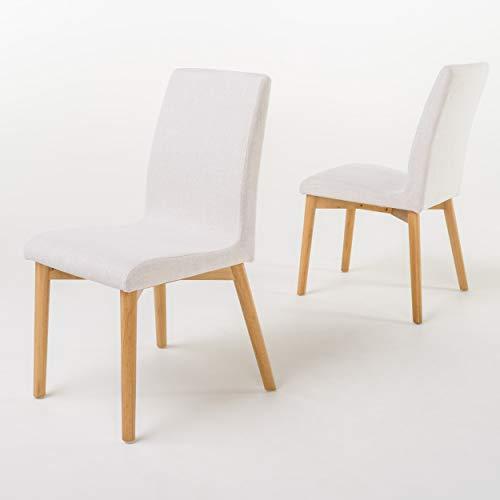 Christopher Knight Home Helen Mid-Century Modern Dining Chairs, 2-Pcs Set, Light Beige