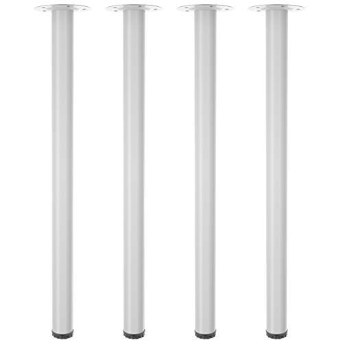 Gotland Height Adjustable Table Legs 28 Inch Metal Desk Legs Set of 4PCS - Heavy Duty Modern DIY Furniture Replacement Leg for Home Dining Office Computer Gaming Desk (White,28')