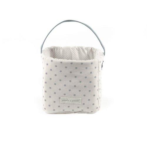 Pasito a pasito 73503 - Cesta pañales y cremas, diseño estrella, color gris normandie