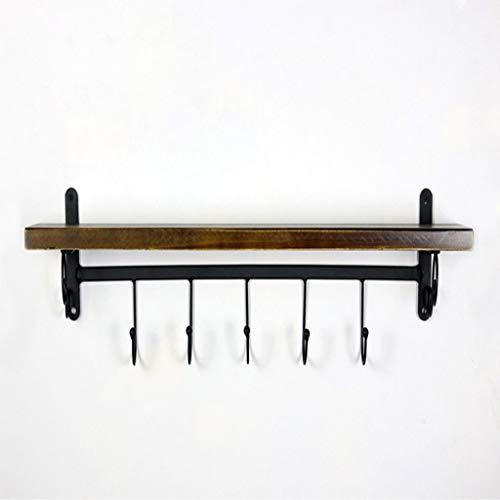Nivel sola Estantes Flotantes de montaje en pared for cocina Especiero con 5 ganchos de almacenamiento rústica granja de madera Estantería de pared for cuarto de baño decoración con la barra de toalla