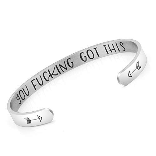 PiercingJ Free Engraving Custom Inspirational Gifts for Women You F**King Got This Stainless Steel Open Cuff Hidden Message Bracelet, Motivational Friendship Jewelry, Best Friends BFF Bangle