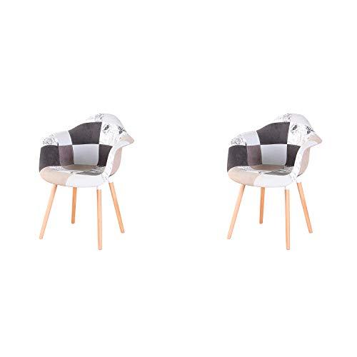 N/A Juego de 2 sillas de comedor silla de cocina silla de diseño con respaldo de lino macizo, piezas de madera maciza, sillones de tela multicolor con tapicería de patchwork (Grey-BB)