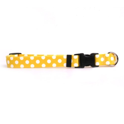 Yellow Dog Design Lemon Polka Dot Dog Collar Fits Neck 14 to 20