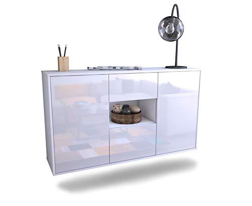Dekati dressoir Riesa hangend (136x77x35cm) romp wit mat | front hoogglans design | Push-to-Open | lichtlopende rails modern zwart