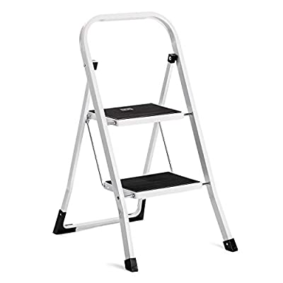 ACKO Folding Step Ladder with Convenient Handgrip Anti-Slip Sturdy and Wide Pedal 330lbs Portable Steel Step Stool White and Black