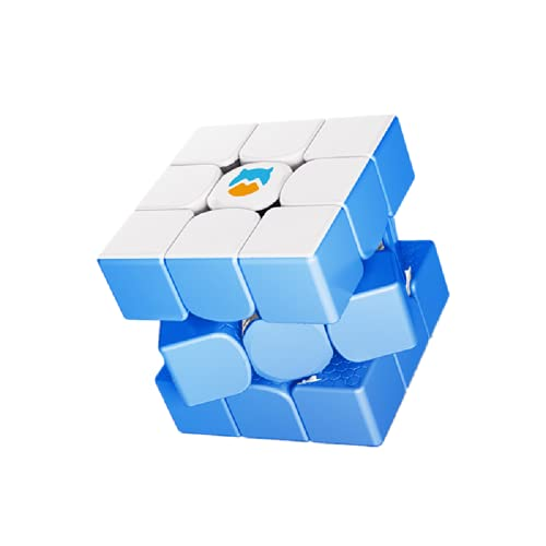 GAN Monster Go Magic Puzzle 3x3 Cube, MG3 Serie de Aprendizaje estatal sin Pegatinas Juguete de Rompecabezas para niños Principiantes,Genting White Blue