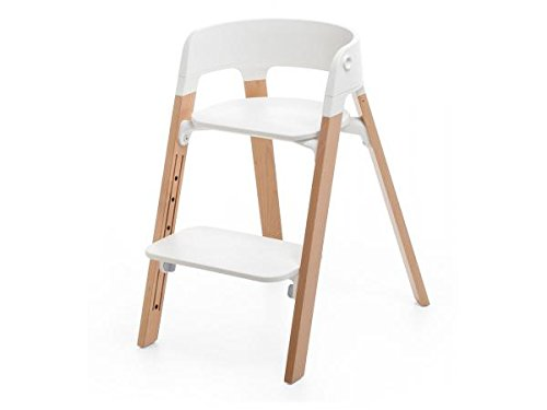 Chaise haute Steps assise blanche pied hêtre naturel - Stokke
