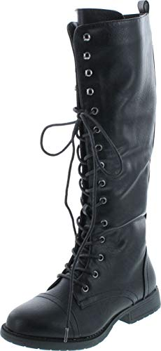 Nature Breeze Madge 02Kh Womens Knee High Lace Up Combat Boots,Black Pu,6