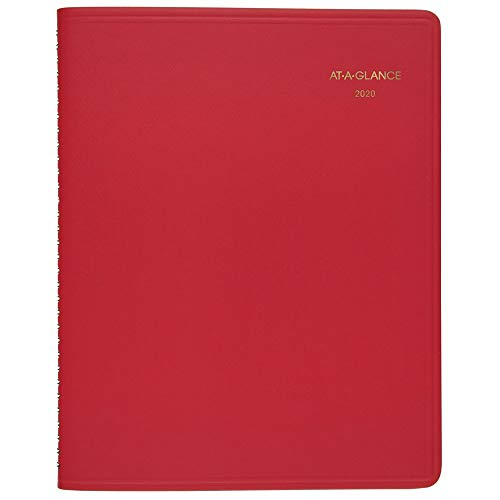 AT-A-GLANCE 2020 Monthly Planner, 9u0022 x 11u0022, Large, Red (7025013)