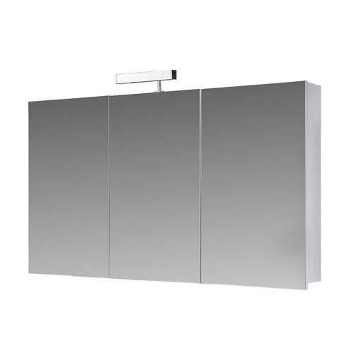 Eurosan 3-türiger Spiegelschrank, Superflach, Halogenaufsatzleuchte, Breite 100 cm, Weiß, Berlin, B100
