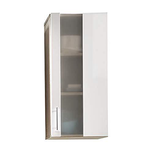 trendteam Armario de baño suspendido Armario para colgar Porto, 33 x 70 x 21 cm, cuerpo en acabado roble claro cepillado, frente en blanco con mucho espacio