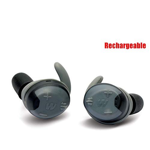Walker's Game Ear Silencer Digital Earbuds Rechargeable, NRR23dB, Sound Supression, Sound Activated Compression, Advanced Digital Circuit, Gray (GWP-SLCRRC)