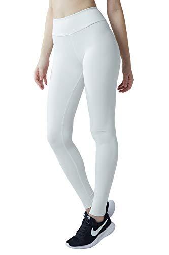 Wirezoll Sport Leggings Damen, High Waist Blickdichte Yogahose mit Tasche aus Baumwolle für Yoga, Gym, Laufen, Weiß, XL