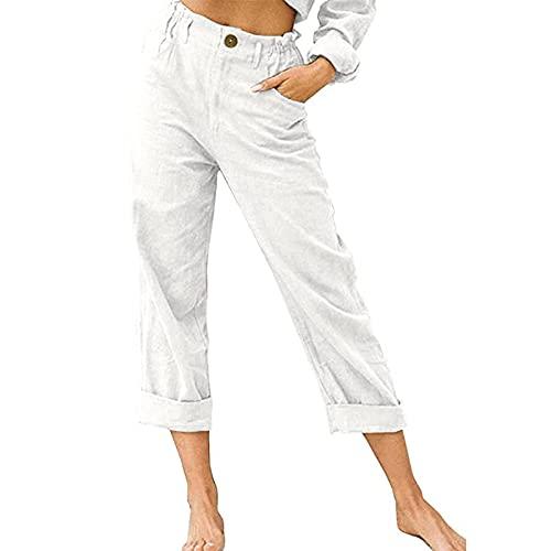 Pantalones de pierna recta de ajuste flexible para mujer, pantalones largos de cintura alta con bolsillos para primavera y otoño, blanco, L