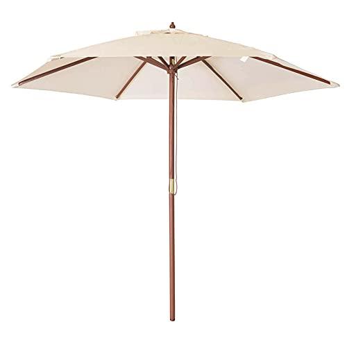 HHTJ Sombrilla Parasol De Jardín De 2,7 M, Sombrilla De Madera para Balcón Playas, Protección Impermeable Y UV, para Sombrillas De Exterior Patio Piscina Terraza