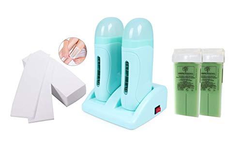 Cris nails kit de depilacion profecional 1 calentador de Cera tibia roll-on(modelo doble), 2 cartuchos de cera(100ml/ud), 1 paquete de bandas depilatorias(100uds)