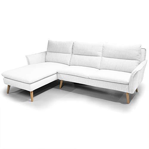place to be. Sofá de esquina de 3 plazas + sofá de esquina izquierda, estilo escandinavo sobre patas de madera, color blanco, P9206 con protección antimanchas de roble macizo
