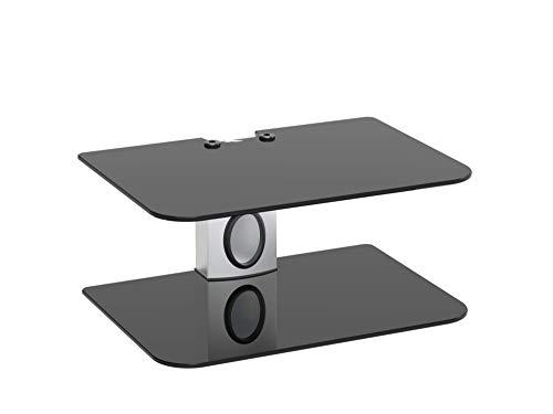 Goldline Sky Box Wandhalterung, DVD-Wandregal, DVD-Wandhalterung und 2 x schwebende schwarze Glasablagen (2 Einlegeböden, weiß/schwarz)