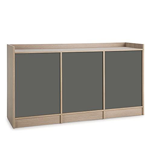 VS Venta-stock Aparador Moscú 3 Puertas y 3 estantes Interiores, Color Roble/Gris, 139 cm (Ancho) 40 cm (Profundo) 76 cm (Altura)