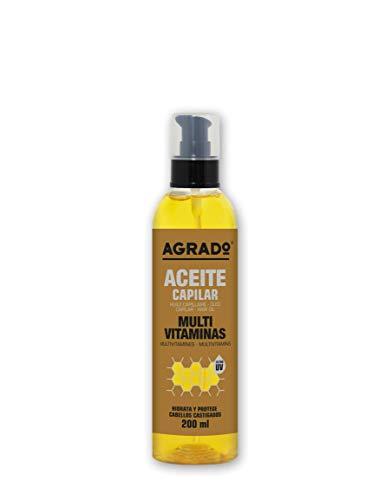 Aceite para el pelo MultiVitaminas Aceite cabello castigado Filtro UV Acondicionador Sin aclarado 200 ml Agrado